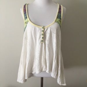 Free People white tank top colored straps large